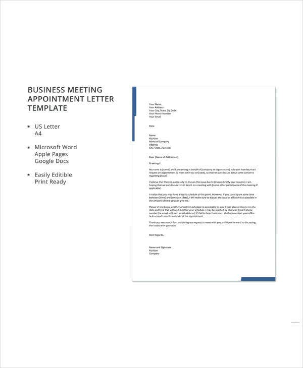 business meeting appointment letter template1
