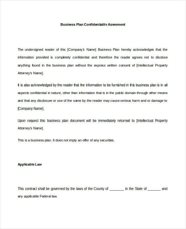 business plan confidentiality agreement doc