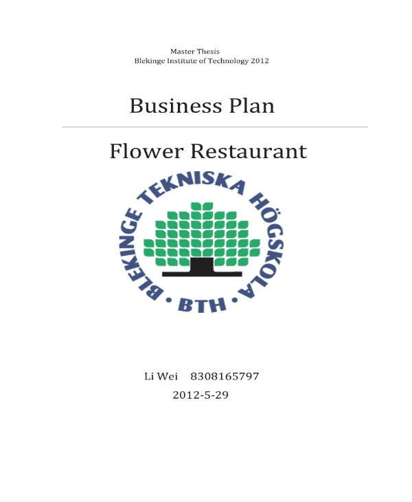 business plan for flower restaurant 011
