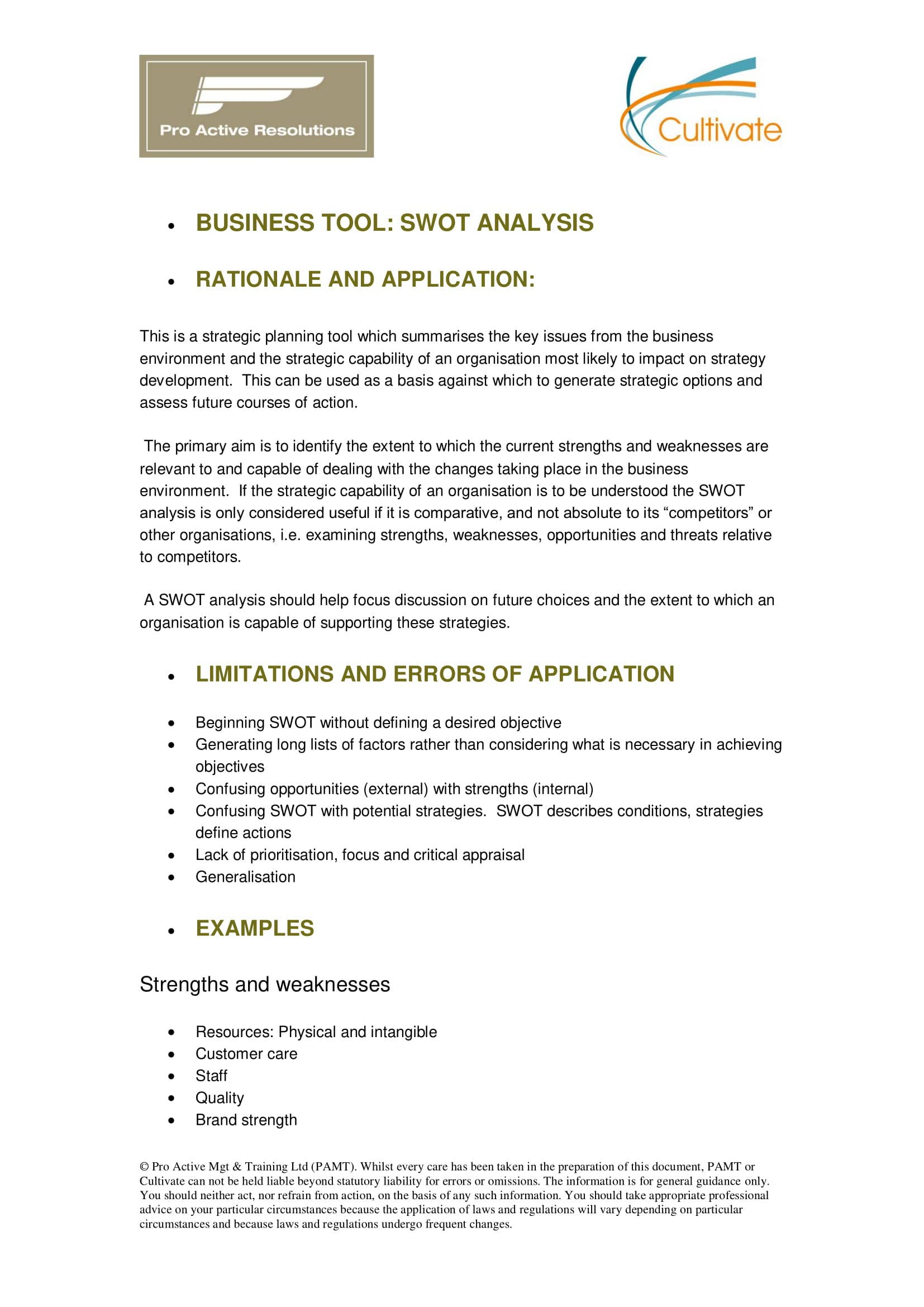 business swot analysis tool