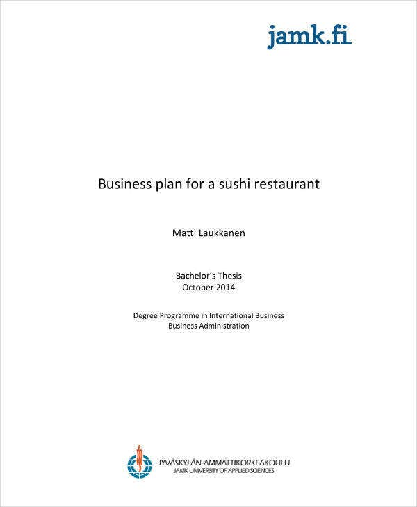 Business and Marketing Plan for Sushi Restaurant