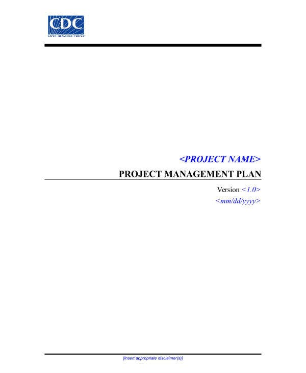 cdc it project management plan template