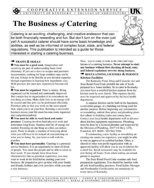 4+ Catering Company Business Plan Templates - PDF | Free