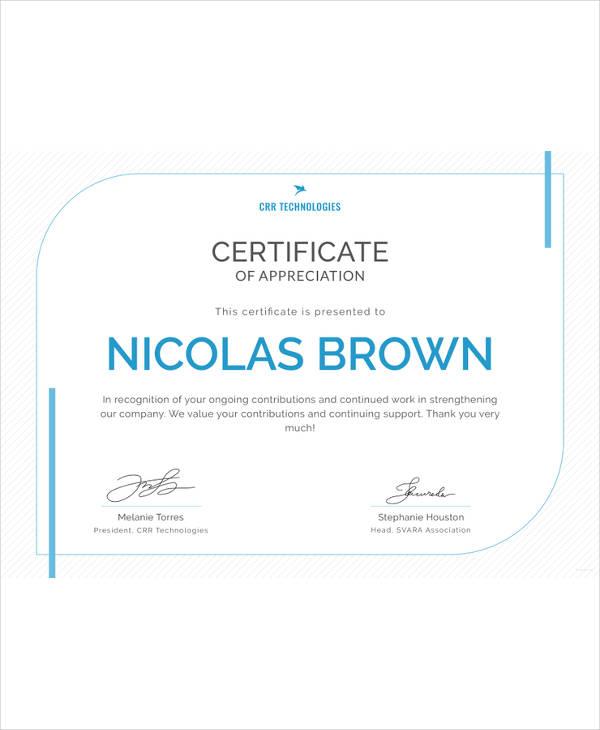 certificate of appreciation for employee