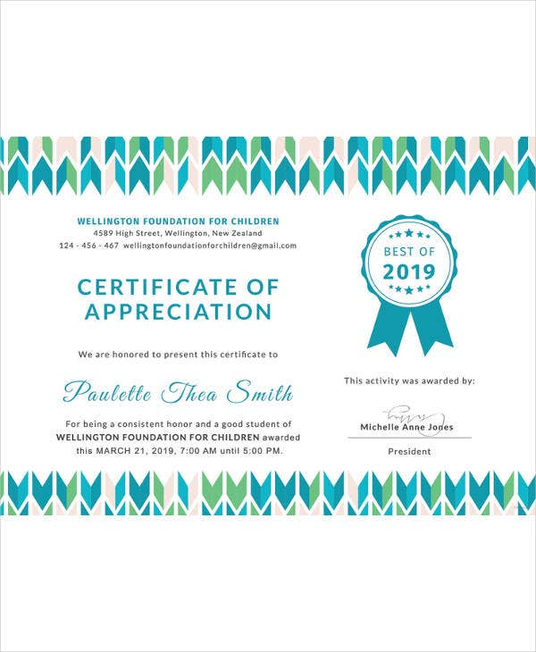 certificate of appreciation for student