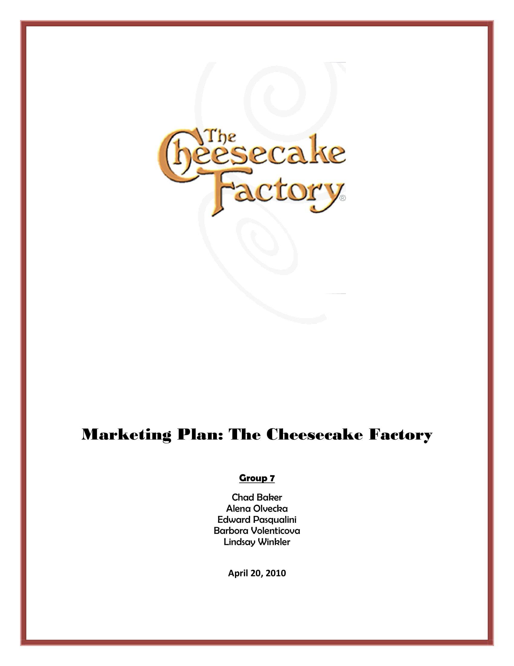 cheesecake factory marketing plan