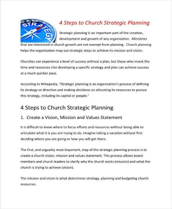 church strategic planning example