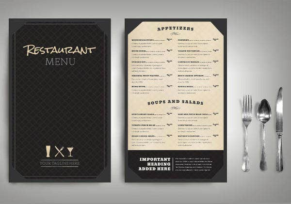 Classic Restaurant Menu Card Design
