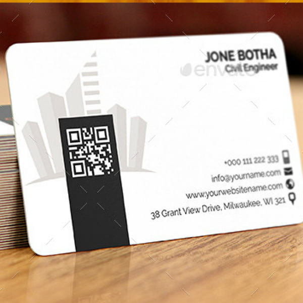 Clean Civil Engineer Business Card Template