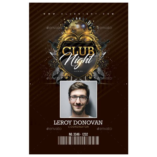 club night vertical id card template