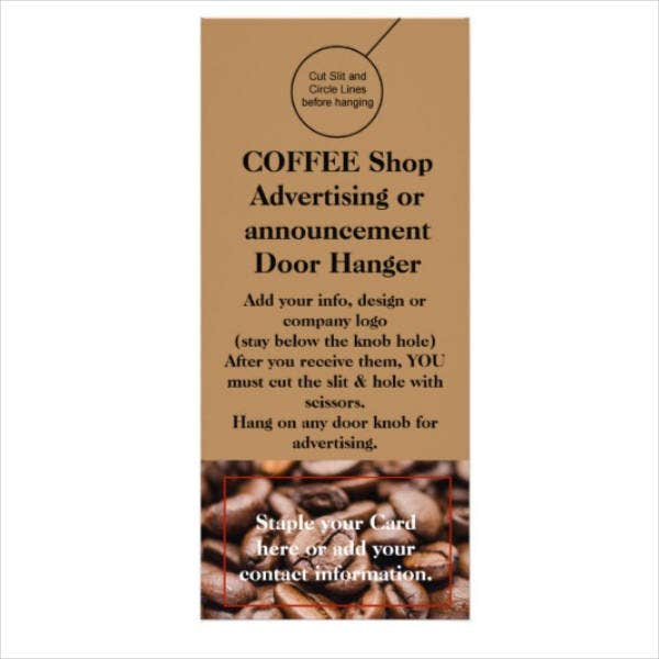 Coffee Shop Hanger Rack Card Sample
