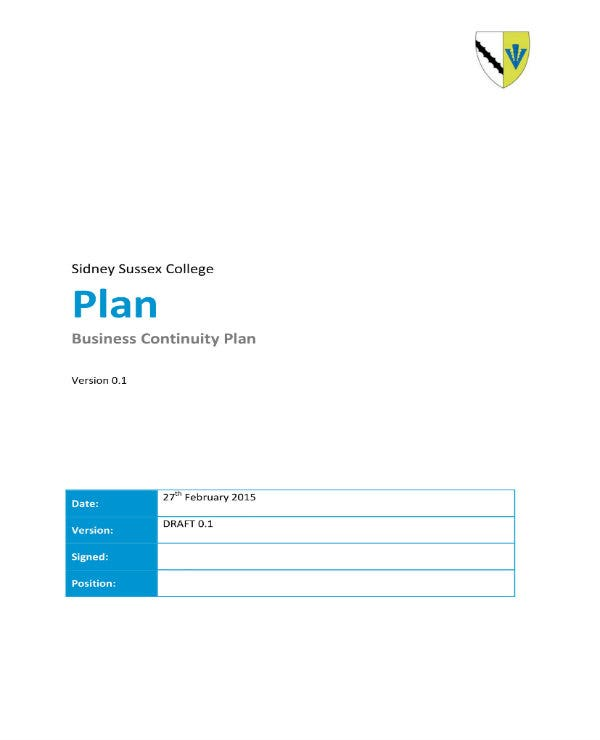 college business continuity plan 01