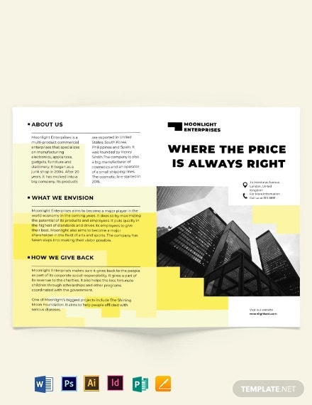 commercial bi fold brochure template
