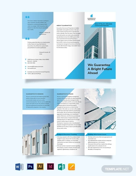 commercial property management tri fold brochure template