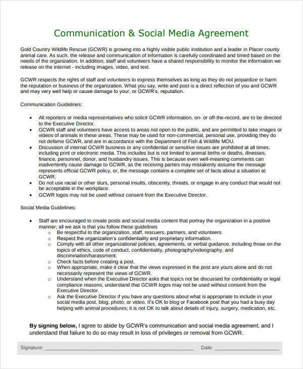 communication social media confidentiality agreement