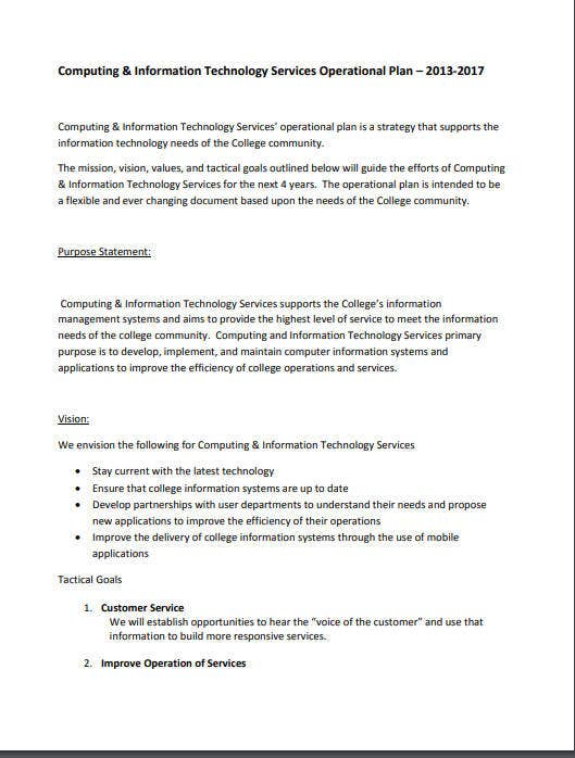 computing information technology services operational plan