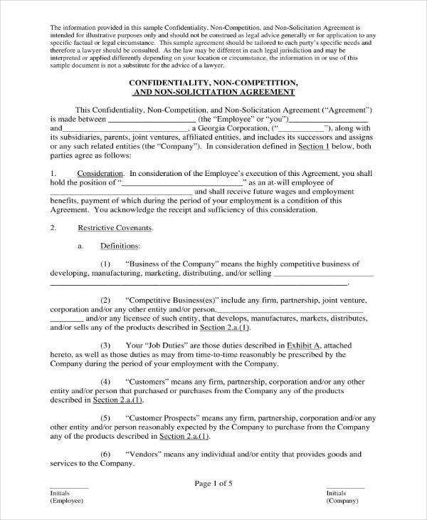Confidentiality Agreement Contract Sample