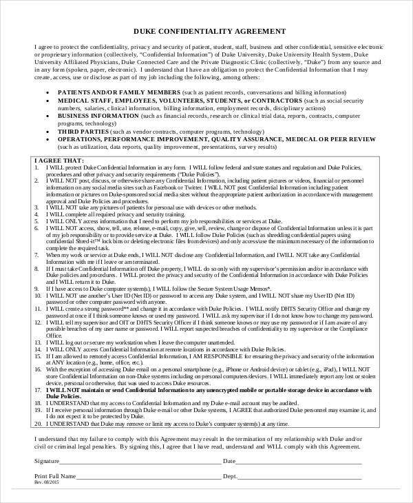 confidentiality agreement for staff printable