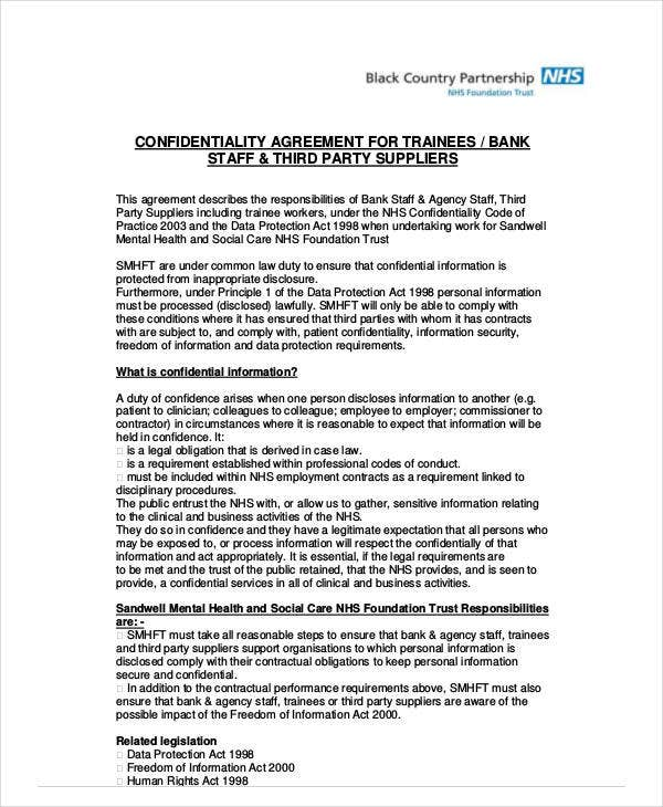 confidentiality agreement for trainee staff