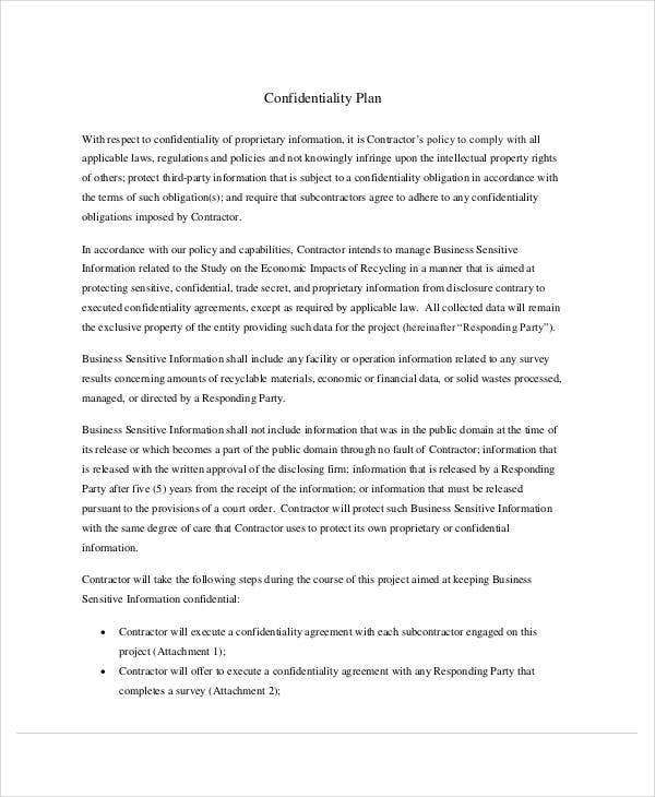 confidentiality plan with mutual non disclosure agreement