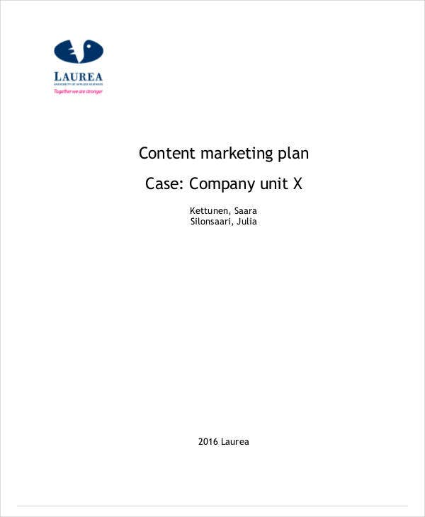content marketing plan case