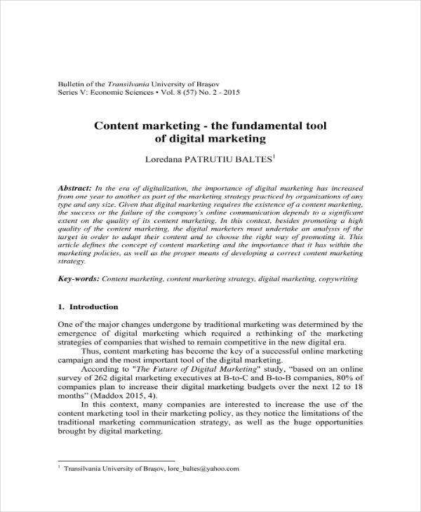 content marketing plan sample