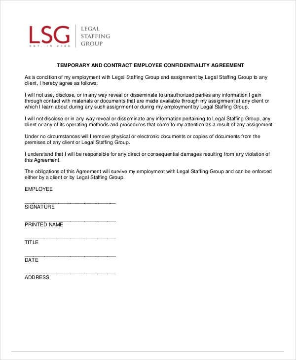 contract employee confidentiality agreement