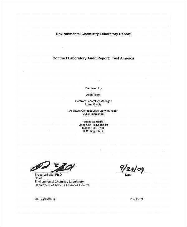 contract laboratory audit report template