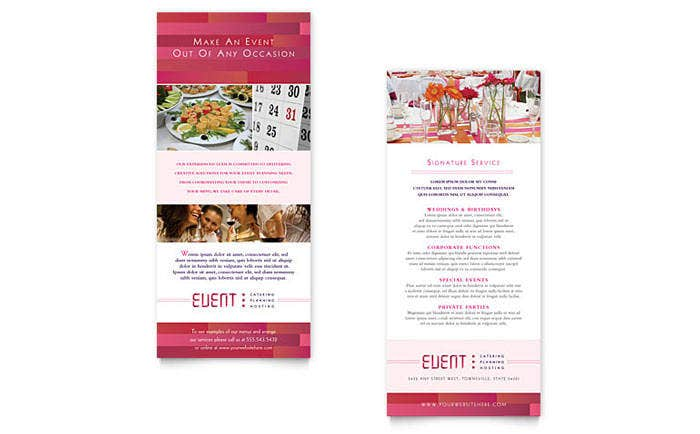 corporate event caterer rack card template