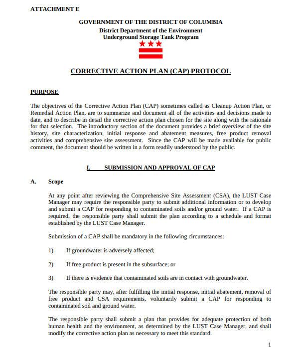 corrective action plan protocol