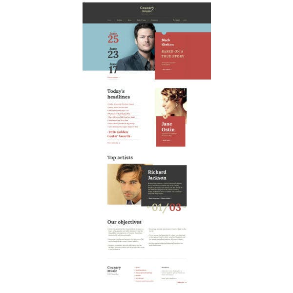 Country Music - Musician Responsive Multipage Website Template