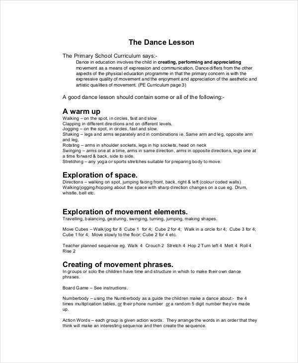 creative dance lesson plan template