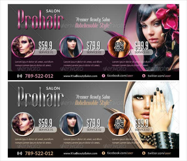Creative Salon Rack Card Template