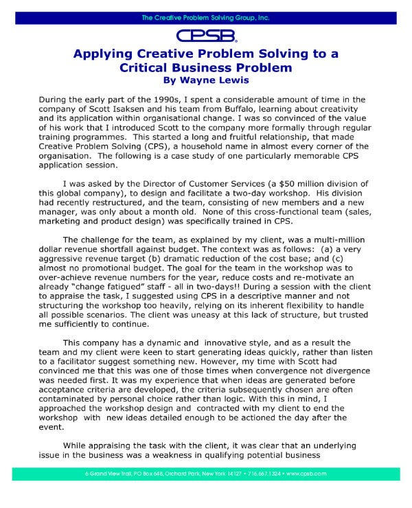 critical business problem solving proposal 1