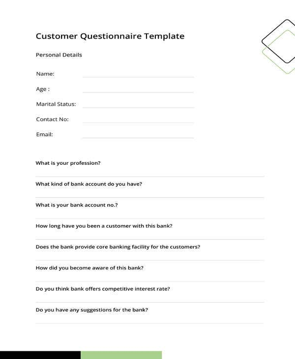 customer questionnaire template