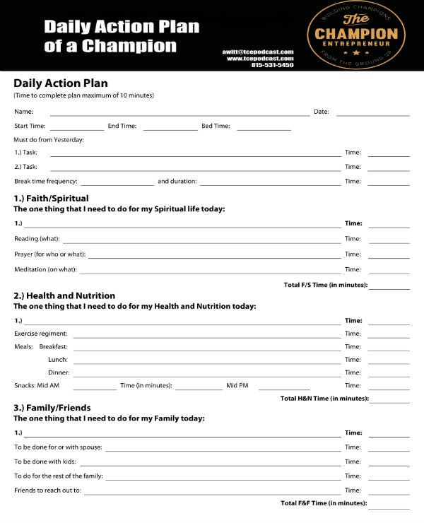 daily action plan sample 1