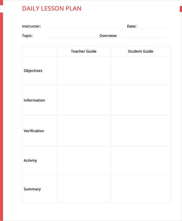Lesson Plan Templates PDF DOC Excel Free Premium Templates - Daily lesson plan template doc
