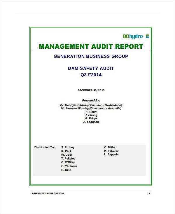 Dam Safety Audit Report Template