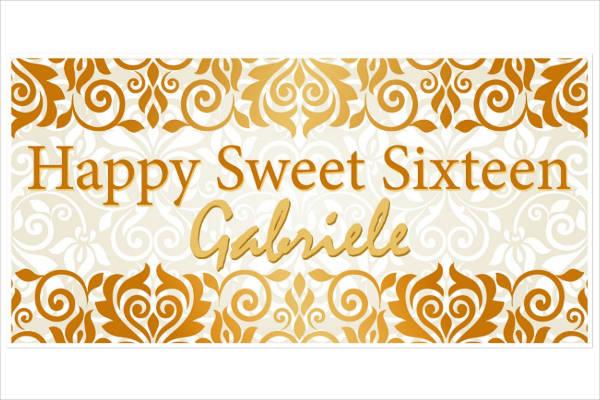 damask sweet 16 birthday banner