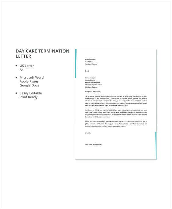 Daycare termination letter templates 13 free sample example details spiritdancerdesigns