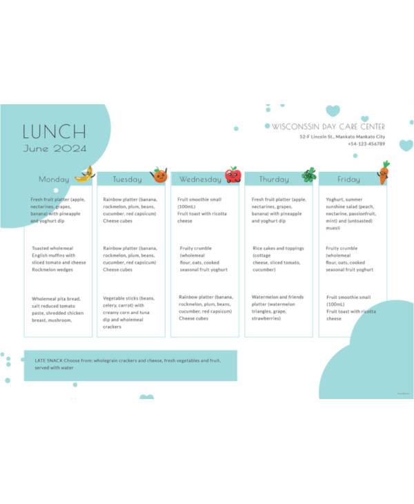 daycare menu template