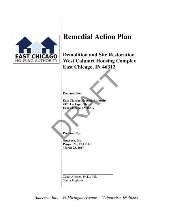 demo site remedial action plan