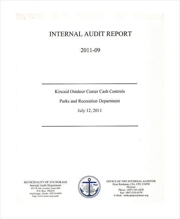 Department Internal Audit Report