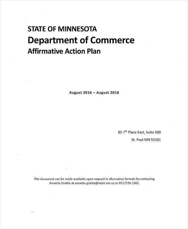 Department of Commerce Affirmative Action Plan