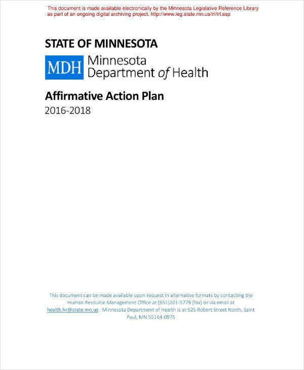 Department of Health Affirmative Action Plan