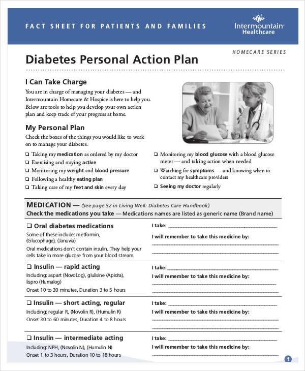 diabetes personal action plan