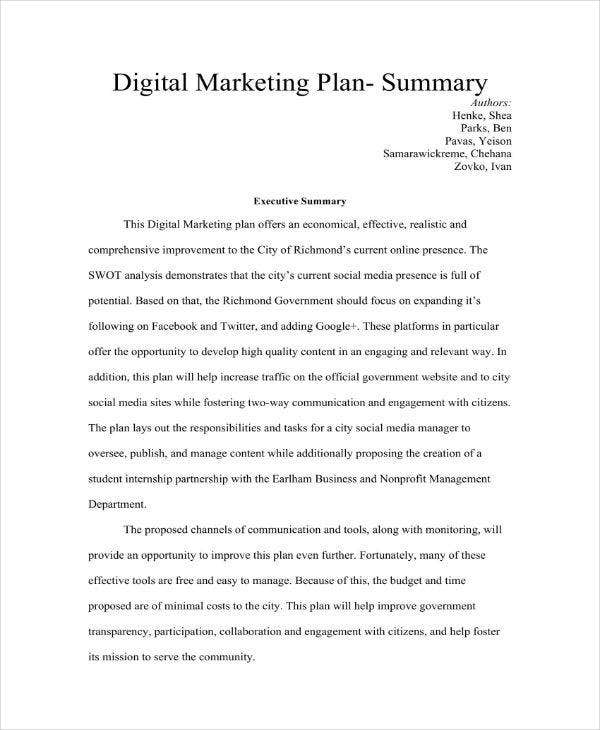Digital Marketing Plan Summary