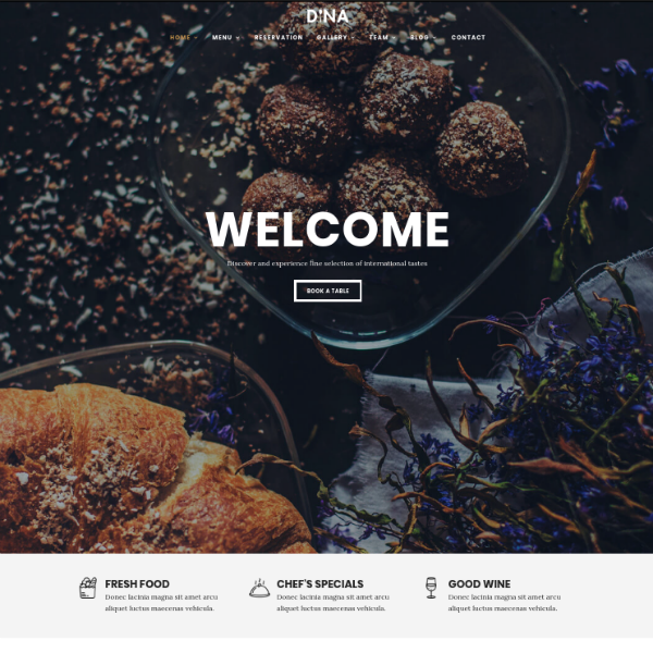 dina restaurant management website template