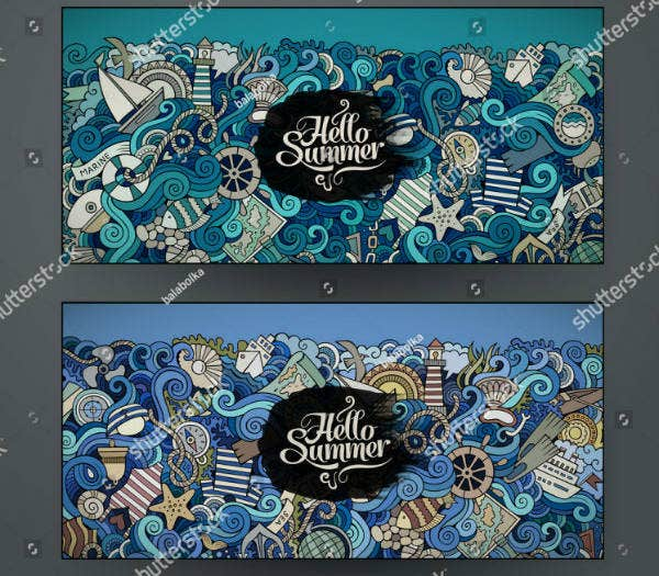 Doodles Vector Nautical Banner Template