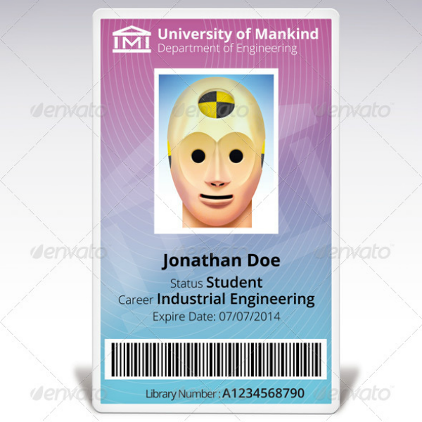 Dummy Face Vertical ID Card Template
